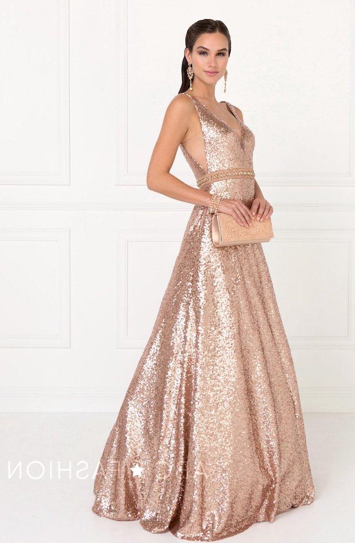 summer bridesmaid dresses, rose gold sequin, v neckline, brown long hair, rose gold clutch