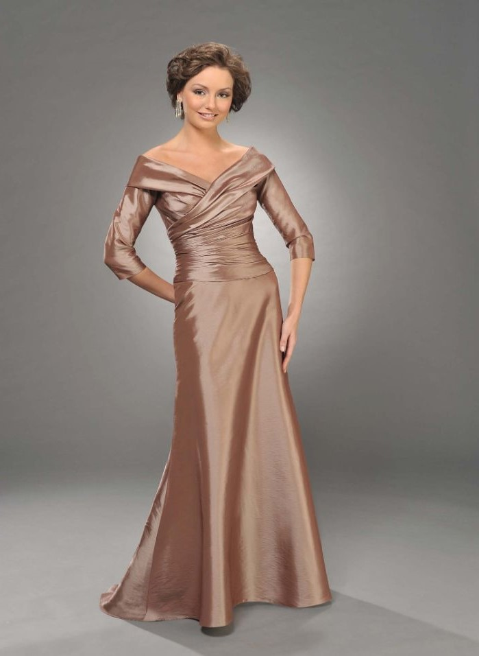mother of the bride suits, champagne satin dress, v neckline, quarter sleeves, brown hair, in a low updo