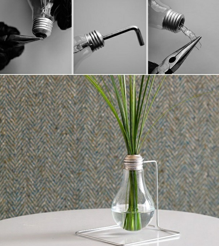 electric bulb, turned into a vase, fun easy crafts, step by step, diy tutorial