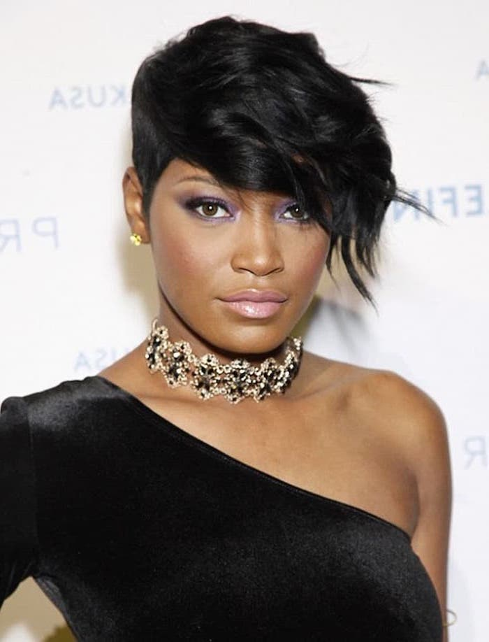 keke palmer, black velvet top, black hair, short quick weave styles, golden choker
