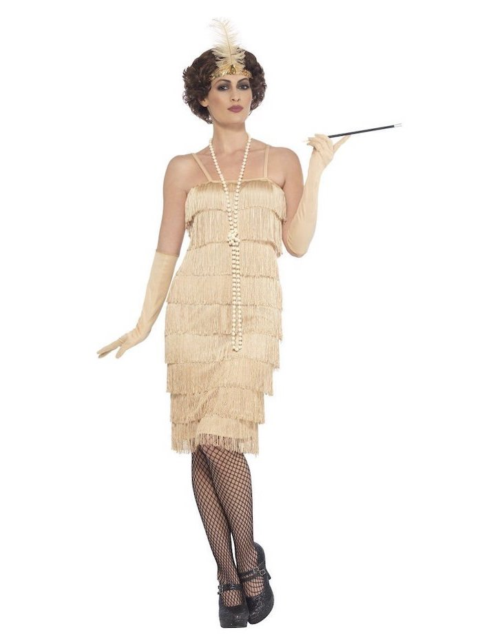 vintage dress, 20s inspired, great gatsby style, short gold dress, black shoes, summer bridesmaid dresses