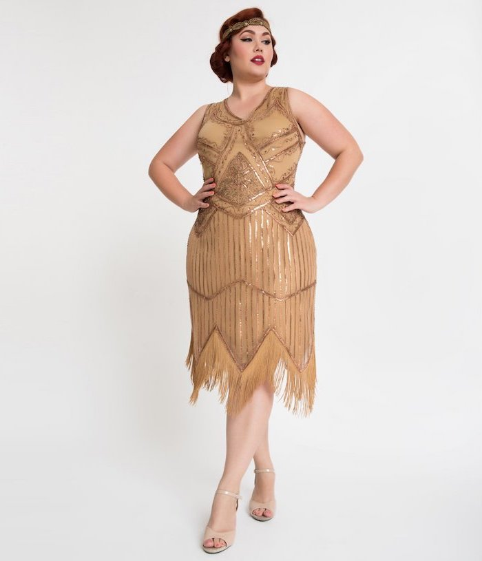 nude sandals, summer bridesmaid dresses, 20s inspired, great gatsby style, short gold dress