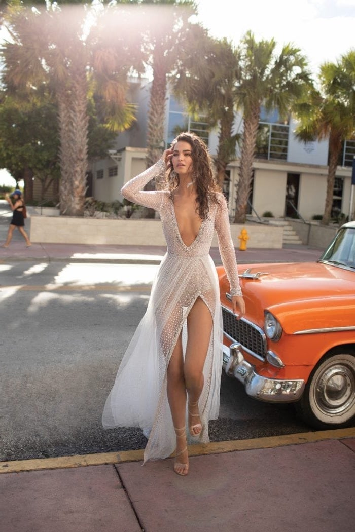 vintage orange car, see through, lace dress, sparkly wedding dress, brown curly long hair