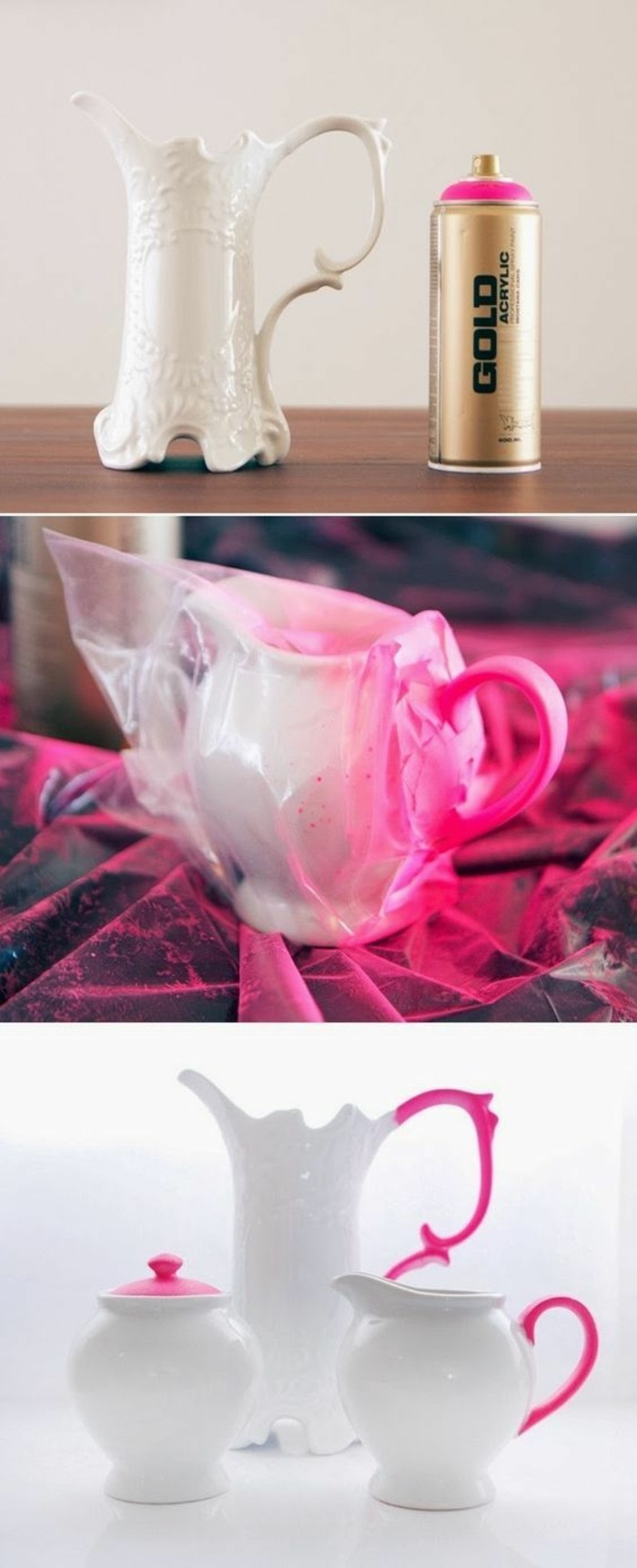 vintage jugs, crafts to do when bored, handles painted in pink, pink spray paint