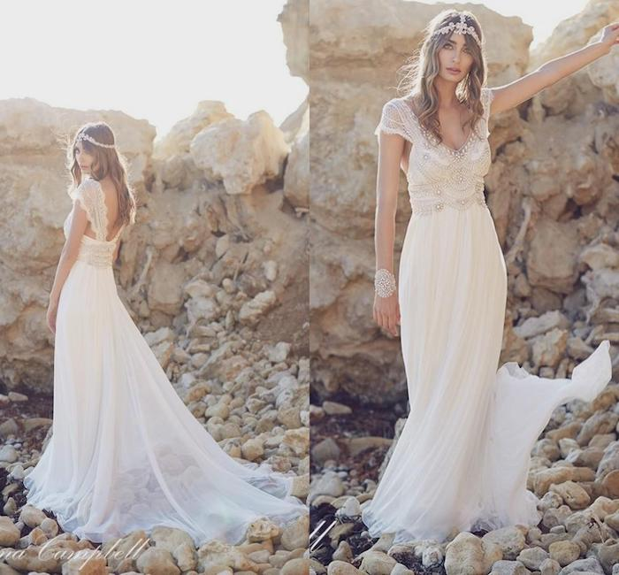 long blonde wavy hair, vintage dress, made of chiffon and lace, wedding dress with slit, hair accessory