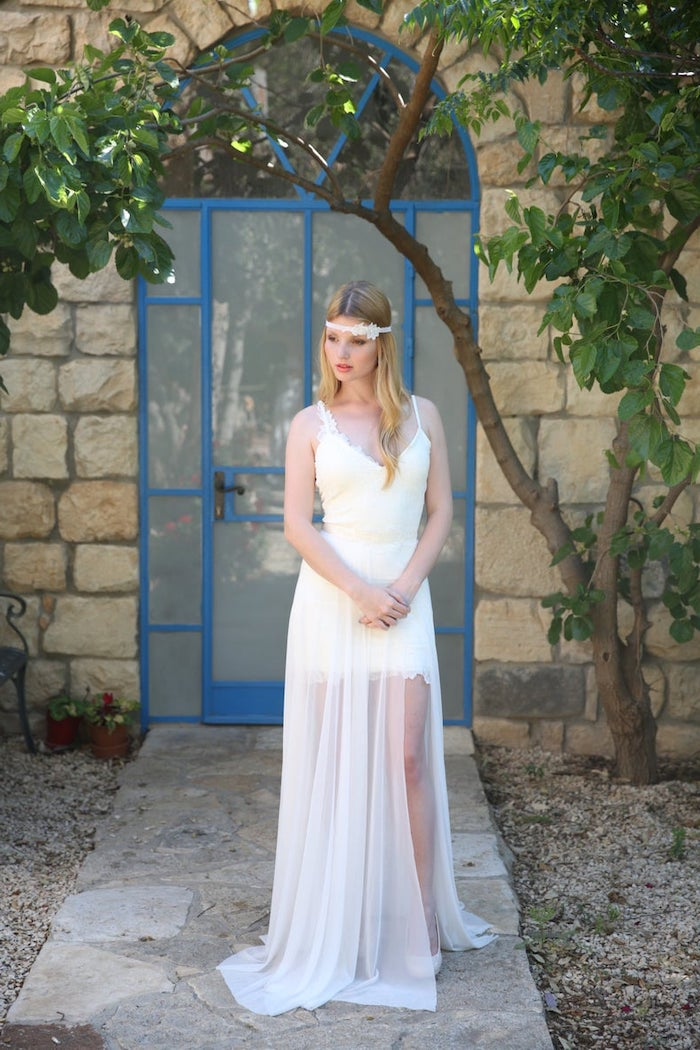 vintage white dress, made of lace and chiffon, wedding dress with slit, wavy long blonde hair