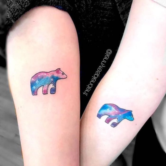 watercolor bears, meaningful mother daughter tattoo ideas, forearm tattoos