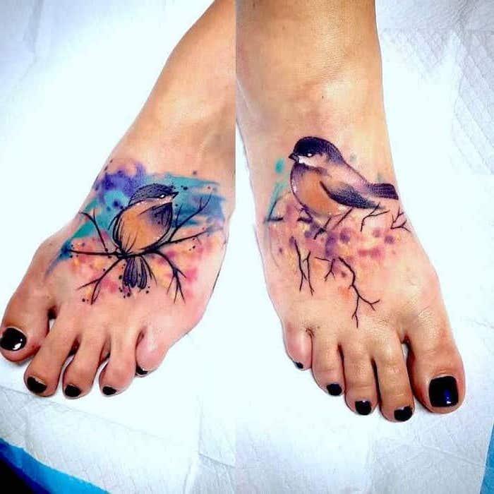 watercolor birds, meaningful mother daughter tattoo ideas, leg tattoos, black nail polish
