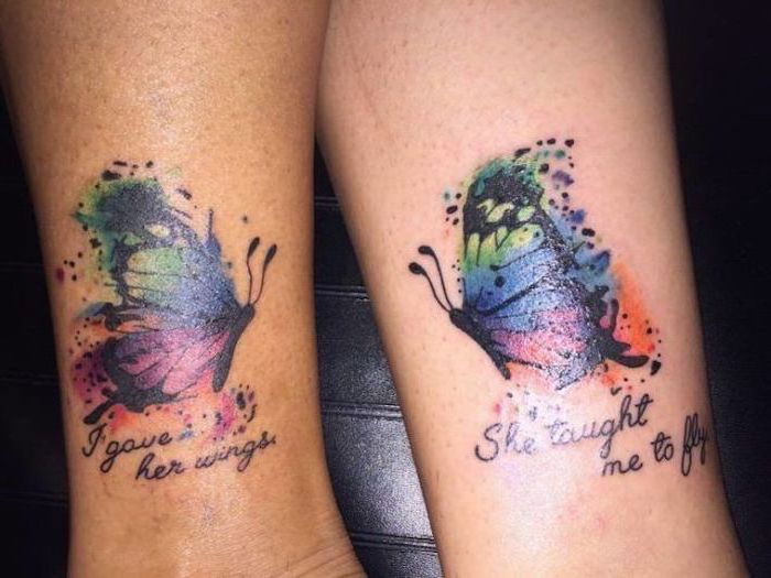 watercolor butterfly, meaningful mother daughter tattoo ideas, ankle tattoos
