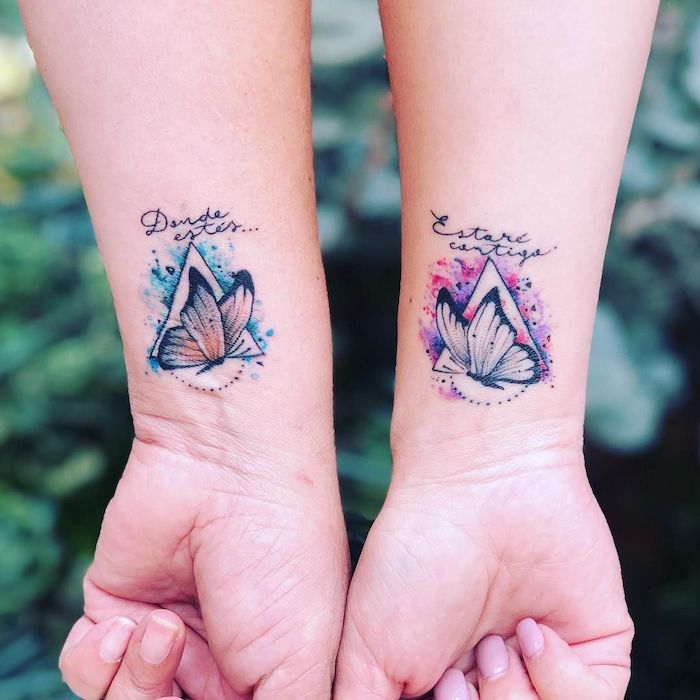 watercolor butterflies, wrist tattoos, geometrical designs, you are my sunshine tattoo, pink and blue