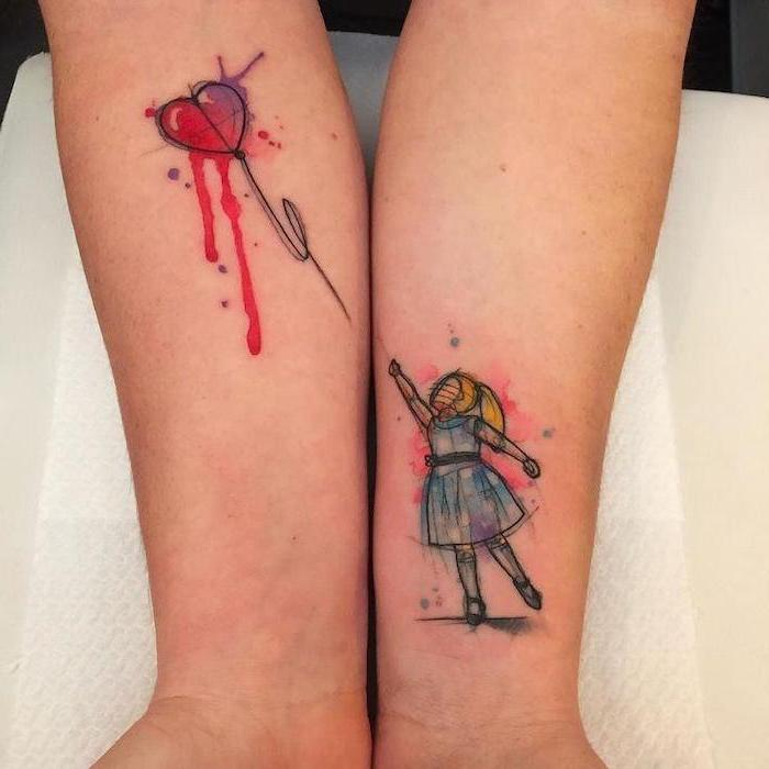 girl with a balloon, watercolor tattoo, matching mother daughter tattoos, forearm tattoos