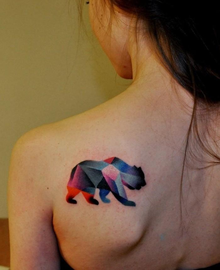 small watercolor tattoo, bear shoulder tattoo, black hair