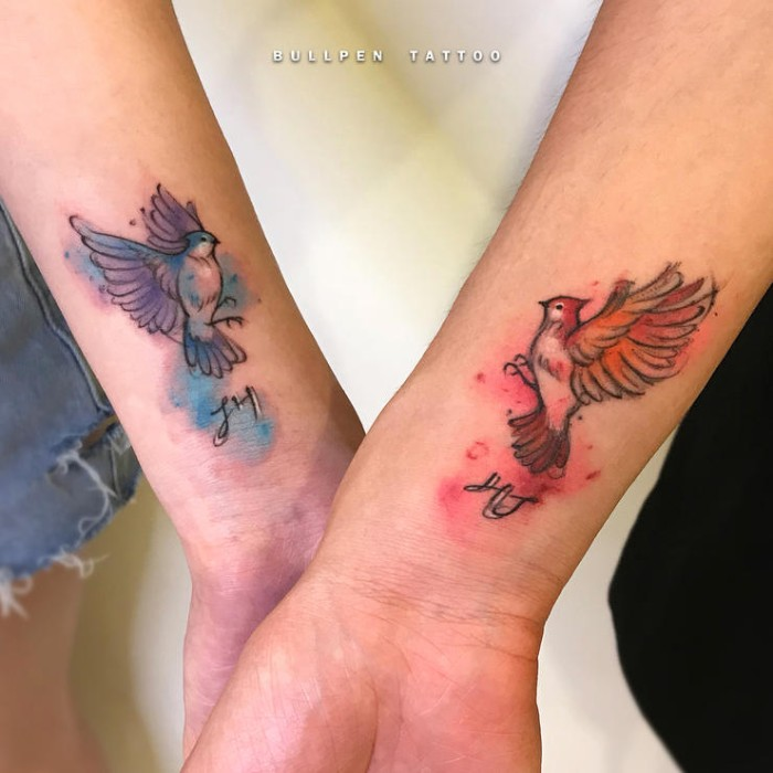 watercolour birds flying, wrist tattoos, friendship symbol tattoos, white background