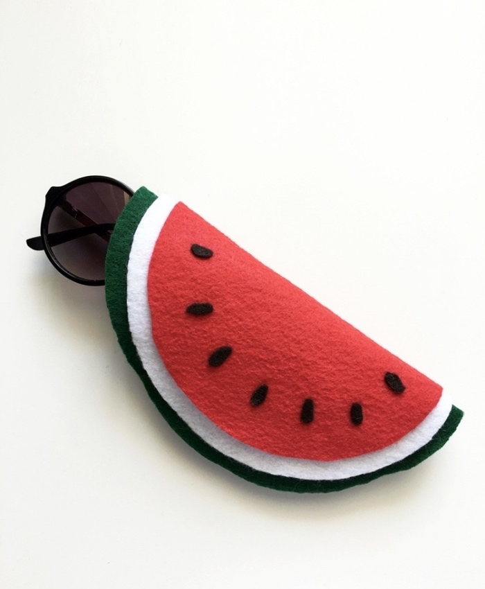 things to do when bored for kids, black sunglasses, inside a case, made of felt, in the shape of a watermelon