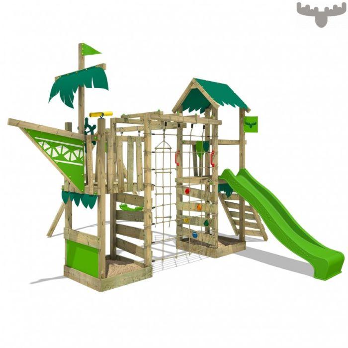 climbing frame, climbing wals, green slide, rope ladders, wooden ladders