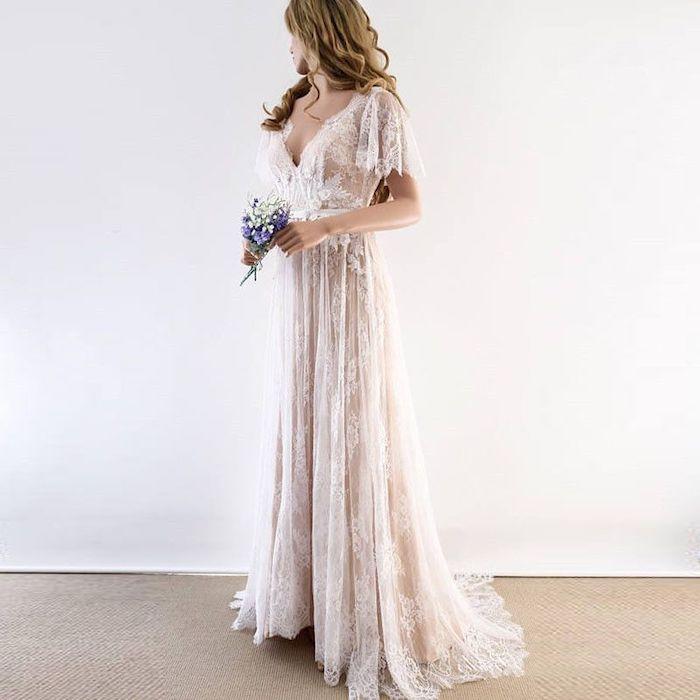 ivory lace dress, v neckline, wedding dress with slit, blonde wavy hair, flower bouquet