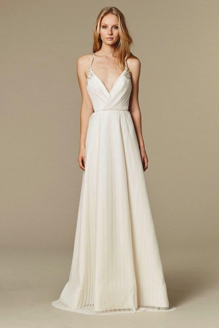 white sundress for wedding, long pleated chiffon, plunging v neckline, long blonde wavy hair
