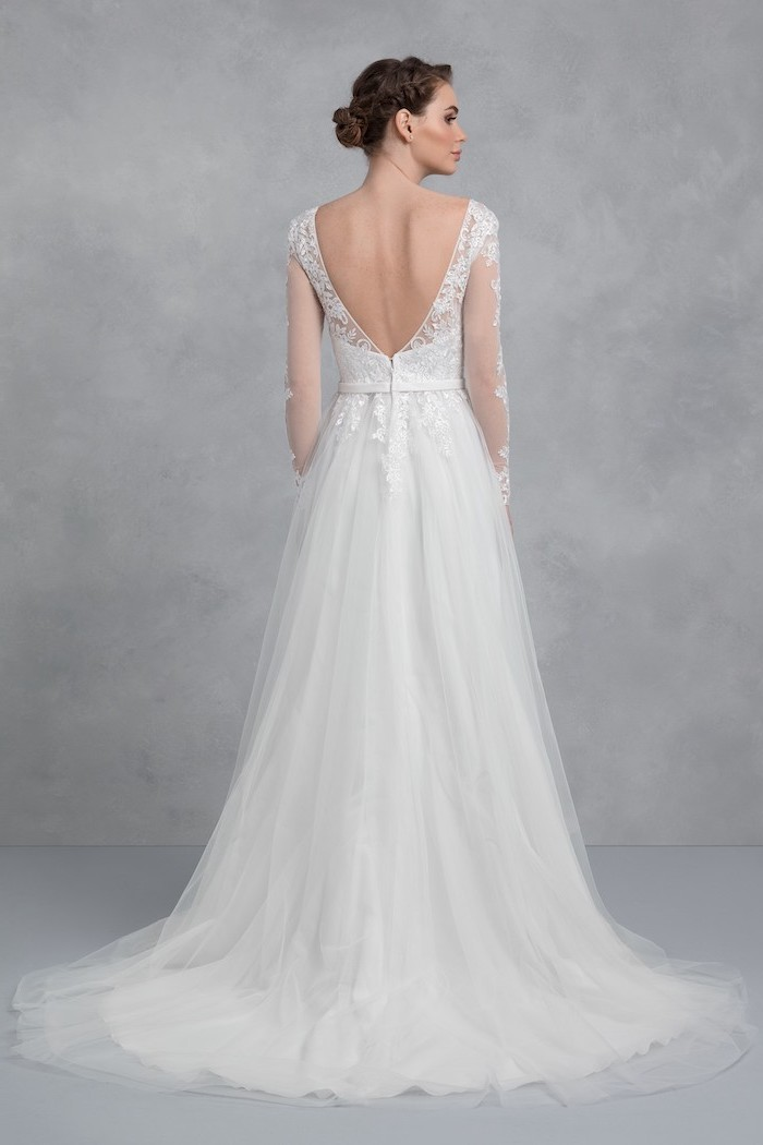 bare back, long white dress, gowns with sleeves, made of tulle and lace, brown hair, in a low updo