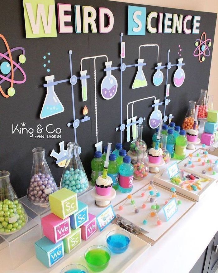 weird science, chemistry jugs, full of sweets, teen birthday ideas, blue and green juices
