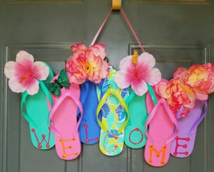welcome sign, made of colourful flip flops, things to do when bored for kids, faux flowers