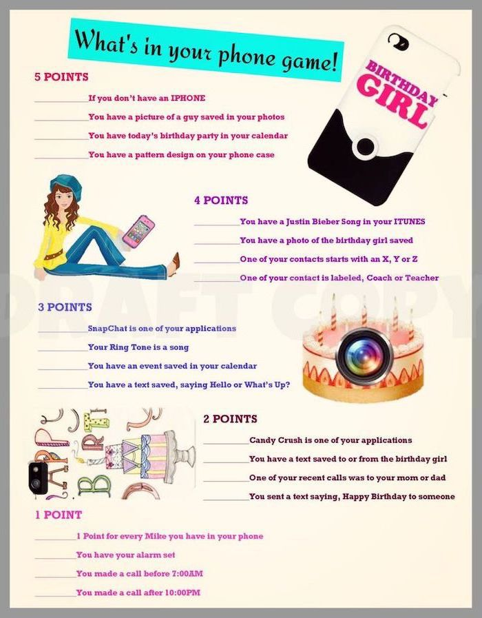 what's in your phone game, fun challenge, 18th birthday party ideas, different points