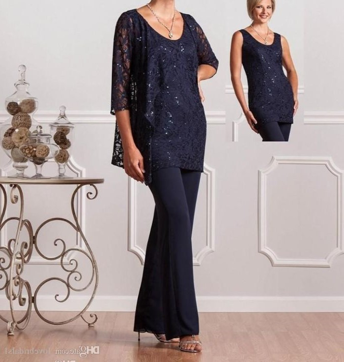 dark blue, three piece suit, lace top and vest, mother of the bride suits, nude sandals