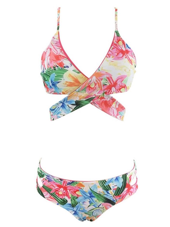 big girls swimsuits, floral print, wrap around top, white background