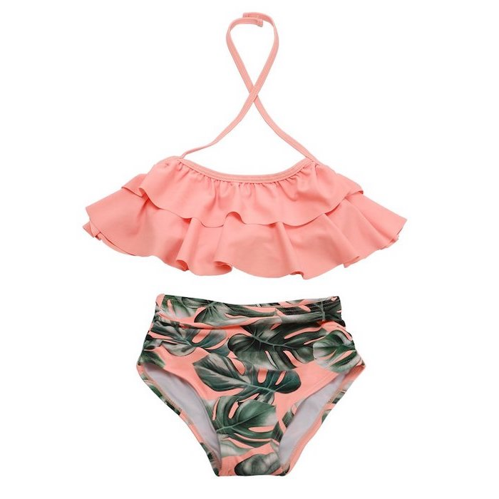 pleated orange top, orange with green palm leaves print, high waisted bottom, big girl swimsuits
