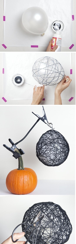 cool craft ideas, step by step, diy tutorial, black yarn, white balloon, orange pumpkin