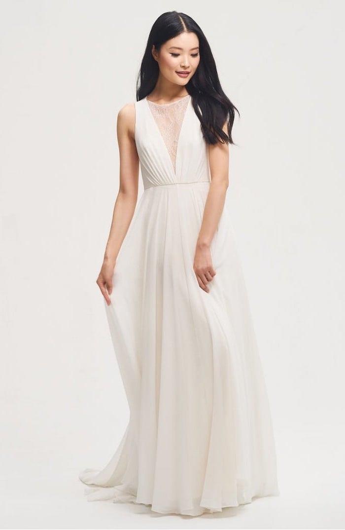 long chiffon dress, long black wavy hair, white sundress for wedding