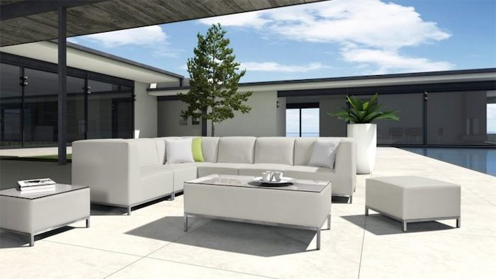 white corner sofa, white ottomans, front porch furniture ideas, tiled floor, potted plant and tree