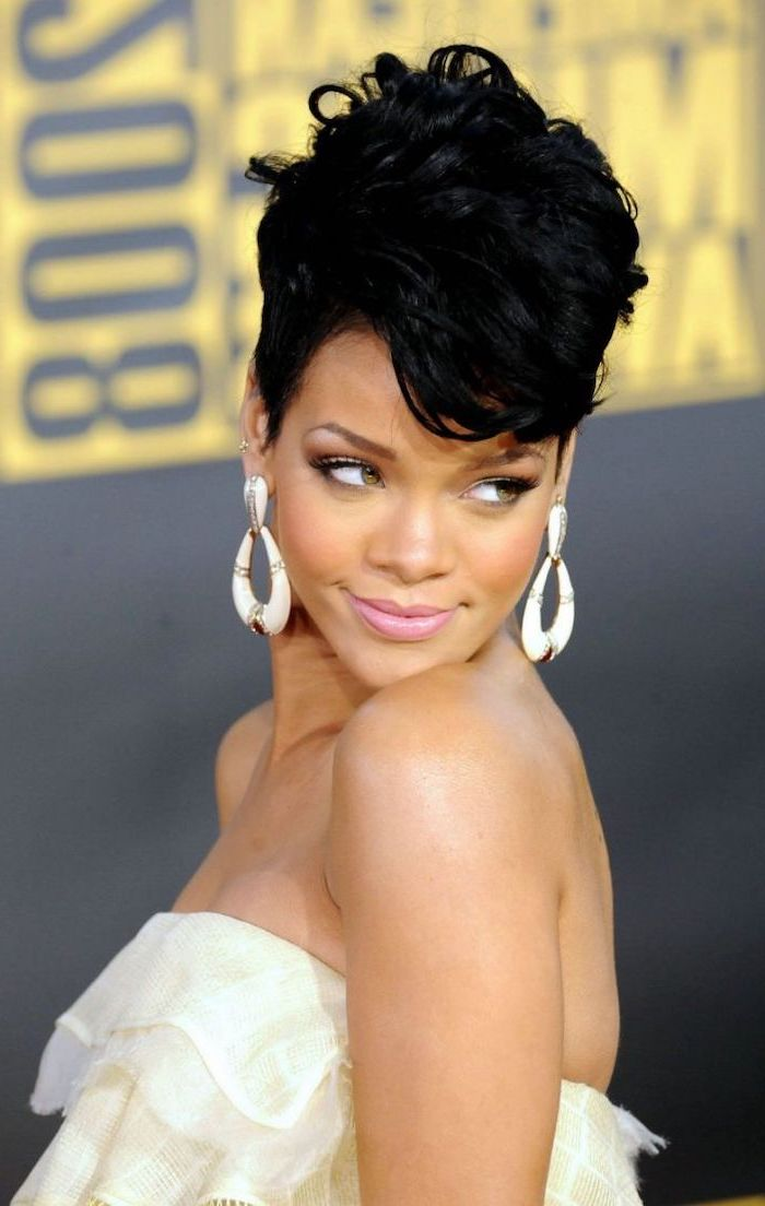 short quick weave styles, rihanna smiling, white dress, white earrings, black hair