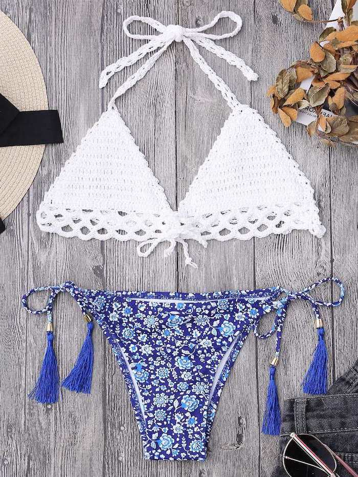white knitted top, blue printed bottom, big girl swimsuits, wooden background