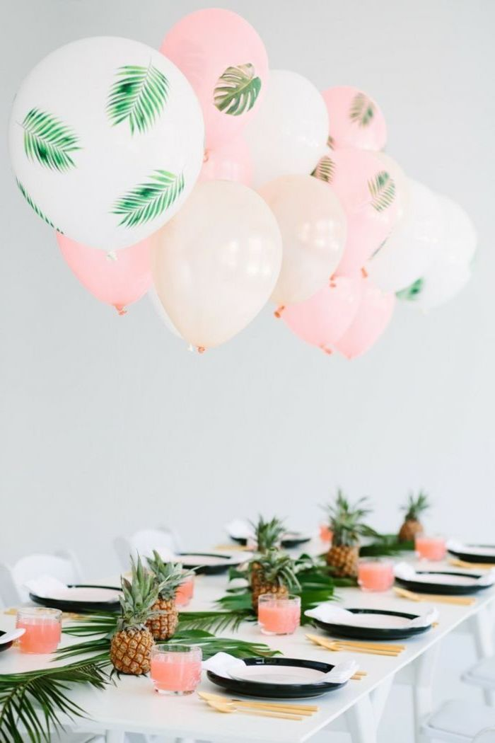 pink and white, floral balloons, teen birthday ideas, pineapple and palm leaves, table runner, gold utensils