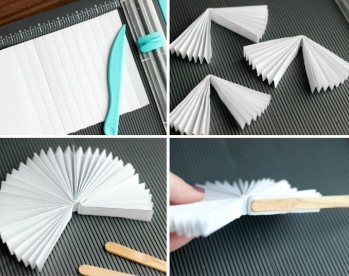 pleated paper, two wooden, popsicle sticks, diys for teens, paper fan