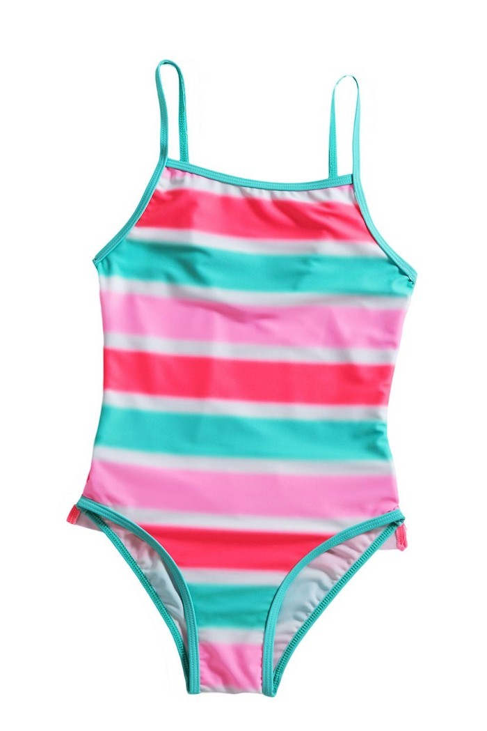 pink blue and white stripes, one piece, big girl swimsuits, white background