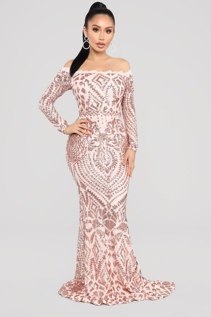 rose gold, sequin bridesmaid dresses, long black hair, in a ponytail