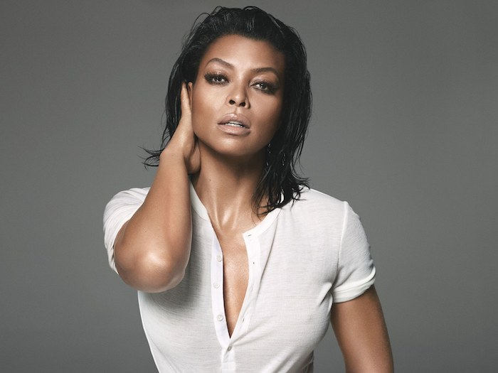 taraji p henson, white shirt, wet hair, bob weave hairstyles, grey background