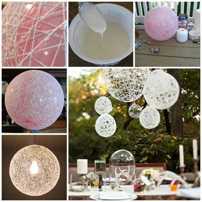 crafts to do when bored, white yarn, mod podge, lamp shades, diy tutorial, step by step