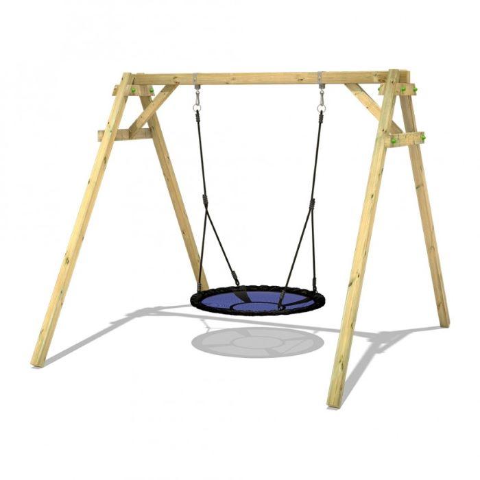 mesh swing, black ropes, wooden swing set, white background