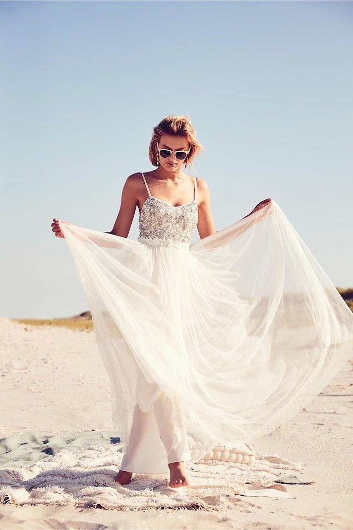 silver sequinned top, chiffon skirt, short blonde wavy hair, flowy wedding dress