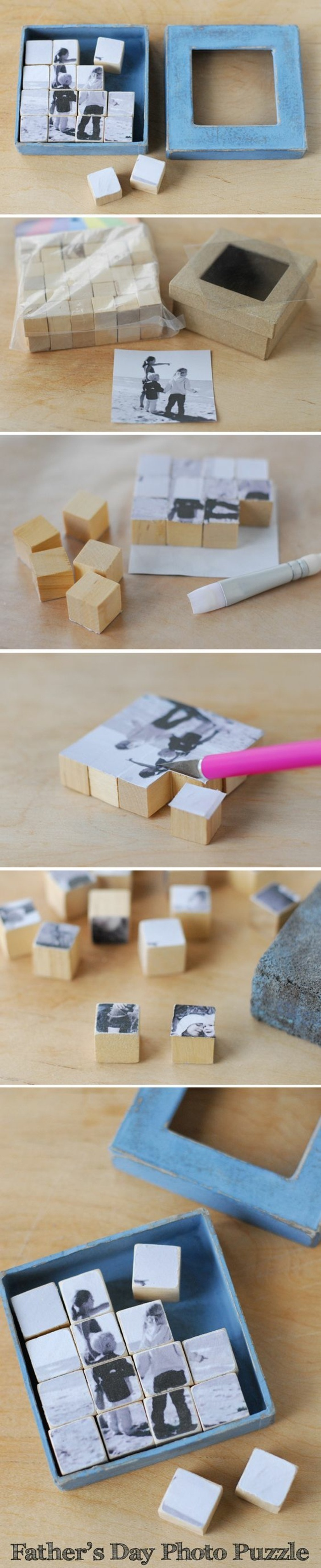 wooden blocks, photo puzzle, black and white photo, wooden box, crafts to do when bored