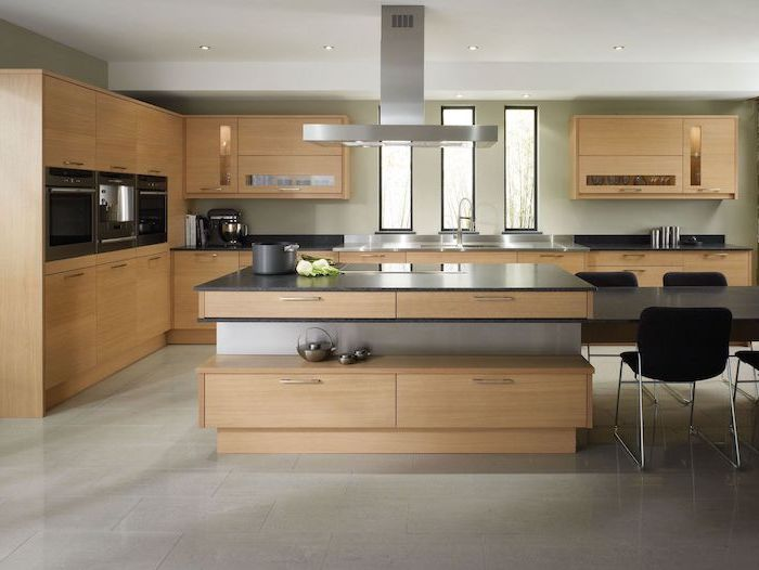 wooden cabinets, tiled floor, granite countertops, black chairs, kitchen remodeling, kitchen island