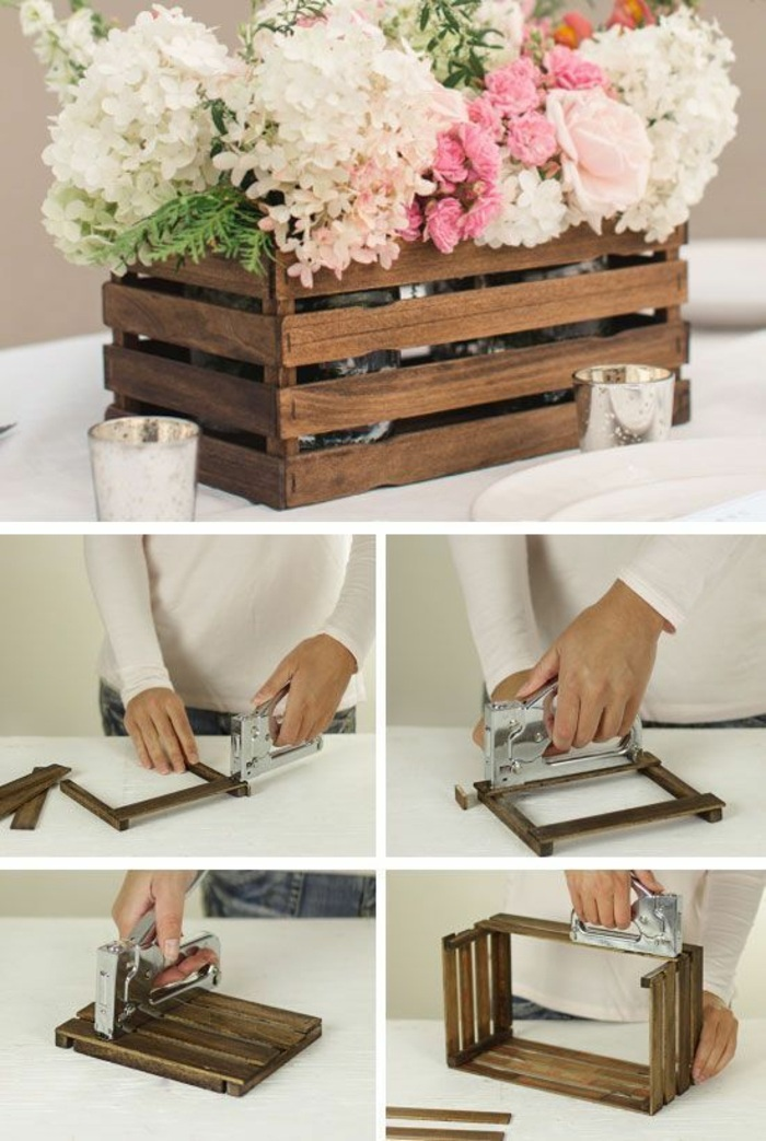 wooden crate, flower bouquets, crafts to do when bored, glass vases, candle holders