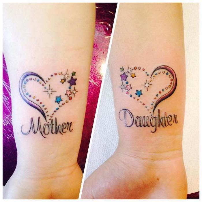colourful hearts, with stars, mother daughter celtic symbols, wrist tattoos