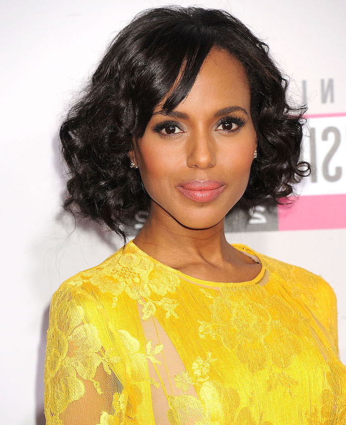 kerry washington, wearing a yellow lace dress, bob hairstyles black hair, side bangs