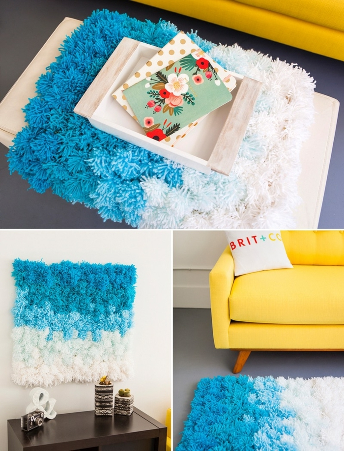 blue and white, pom pom rug, easy diys, yellow sofa, wooden tray
