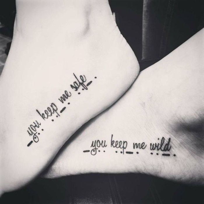 friendship symbol tattoos, you keep me safe, you keep me wild, lines and dots, leg tattoos, black and white photo
