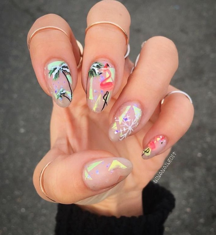 gold rings, nude nail polish, pink flamingos, cool nail designs, green palm trees