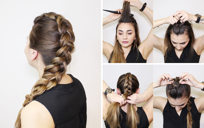 step by step, diy tutorial, brown hair, blonde highlights, side braid, how to do a french braid